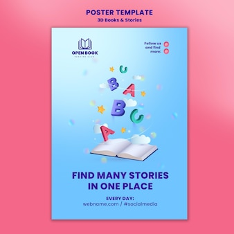 Vertical poster template for books with stories and letters