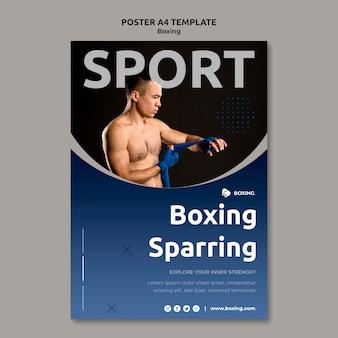 Modello di poster verticale per lo sport di boxe con boxer maschio