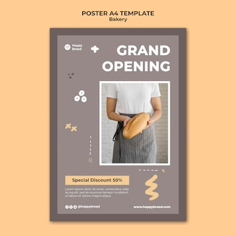 Vertical poster template for bread shop
