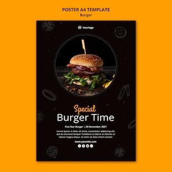 Modello di poster verticale per bistrot di hamburger