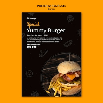 Vertical poster template for burger bistro
