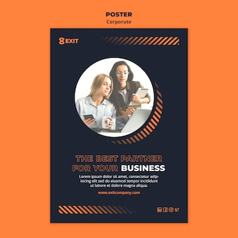 Vertical poster template for business corporation