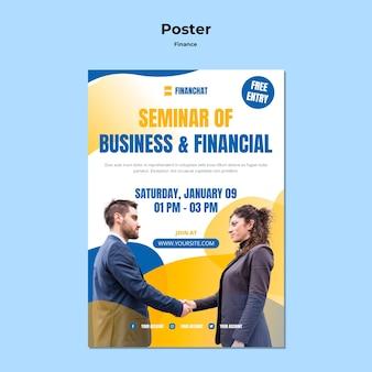 Modello di poster verticale per seminario di affari e finanza