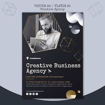 Vertical poster template for business partnering company
