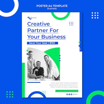 Vertical poster template for business solution with monochrome photo
