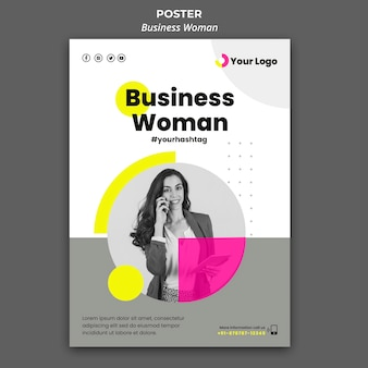 Vertical poster template for businesswoman