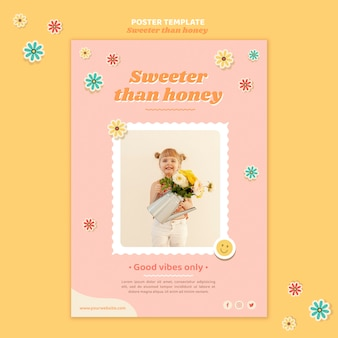Vertical poster template for children with flowers