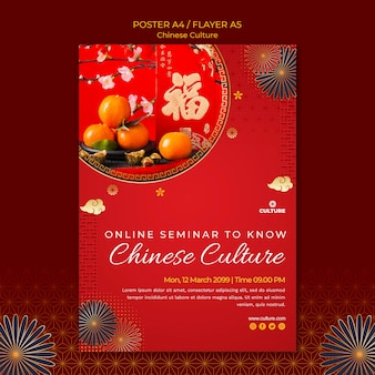 Vertical poster template for chinese culture exhibition
