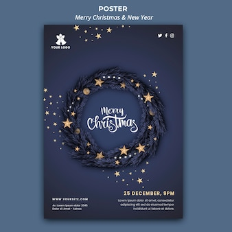 Vertical poster template for christmas and new year