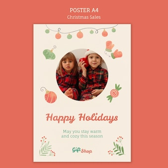 Vertical poster template for christmas sale with children