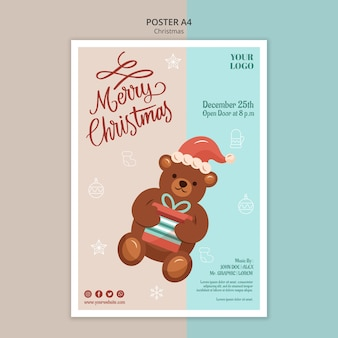 Vertical poster template for christmas with bear
