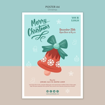 Vertical poster template for christmas with bell