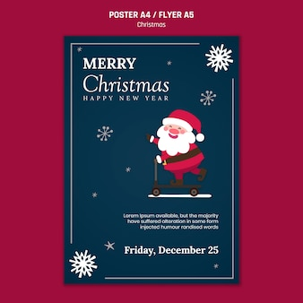Vertical poster template for christmas with santa claus