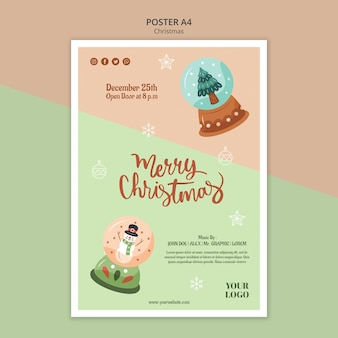 Vertical poster template for christmas with snow globes