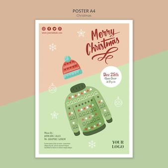Vertical poster template for christmas with sweater