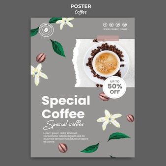 Vertical poster template for coffee