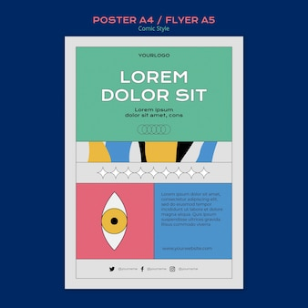 Vertical poster template in comic style