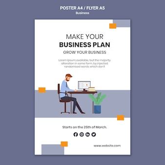 Vertical poster template for company with creative business plan
