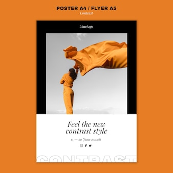 Vertical poster template for contrasting style