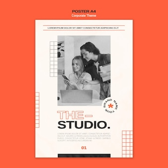 Vertical poster template for corporate studio