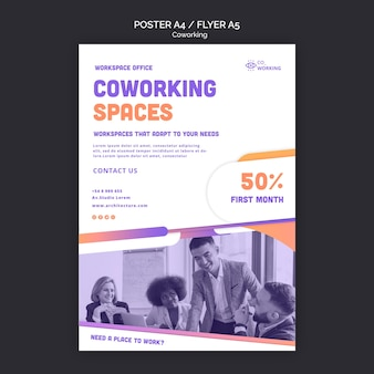 Vertical poster template for coworking space