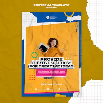 Vertical poster template for creative business solutions