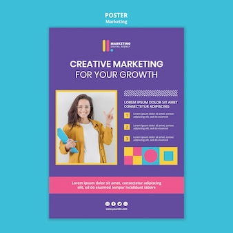 Vertical poster template for creative marketing agency Free Psd