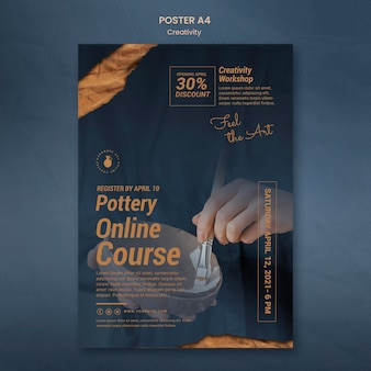 Vertical poster template for creative pottery workshop with woman