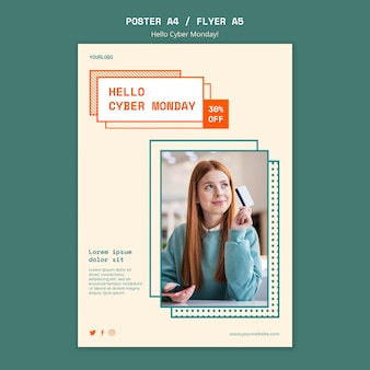 Vertical poster template for cyber monday clearance