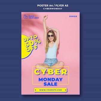 Modello di poster verticale per lo shopping del cyber lunedì