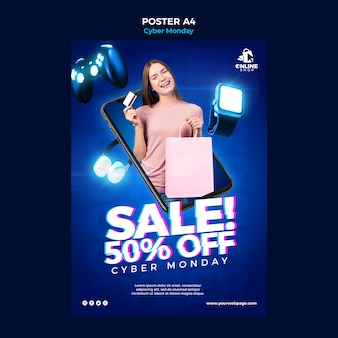 Vertical poster template for cyber monday with woman and items