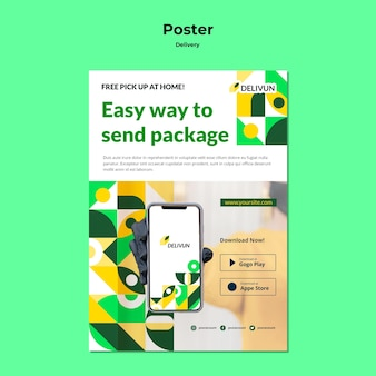 Vertical poster template for delivery company