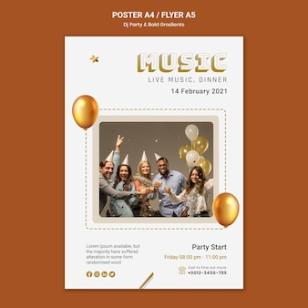 Vertical poster template for dj party with people and balloons