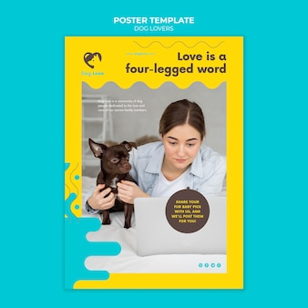 Vertical poster template for dog lovers with female owner
