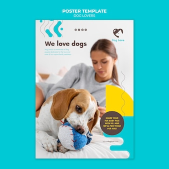 Vertical poster template for dog lovers with female owner Free Psd
