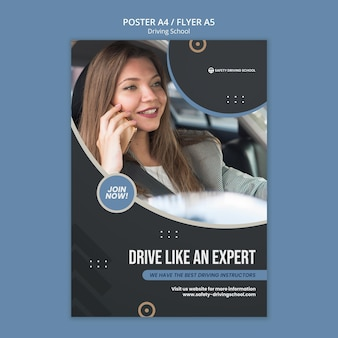Modello di poster verticale per scuola guida con autista donna in auto