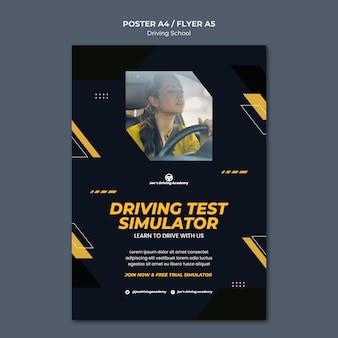 Modello di poster verticale per scuola guida con autista donna