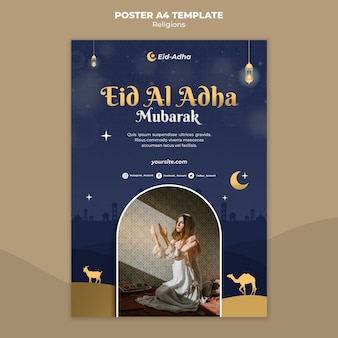 Vertical poster template for eid al adha celebration