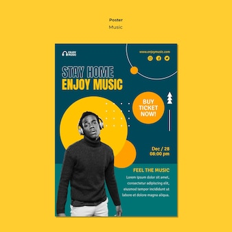 Vertical poster template for enjoying music Free Psd