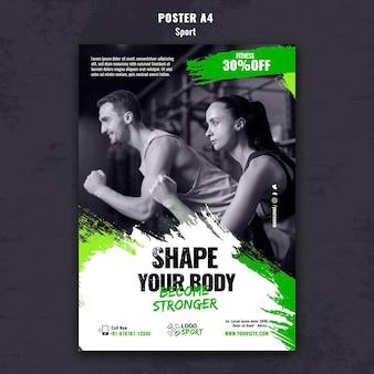 Modello di poster verticale per esercizio fisico e allenamento in palestra