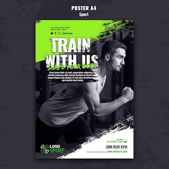 Vertical poster template for exercise and gym training