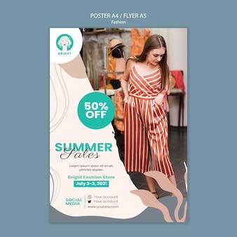 Modello di poster verticale per collezione di moda