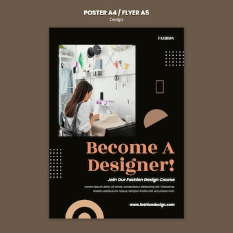 Vertical poster template for fashion designer