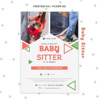 Modello poster verticale per baby-sitter femmina con bambini