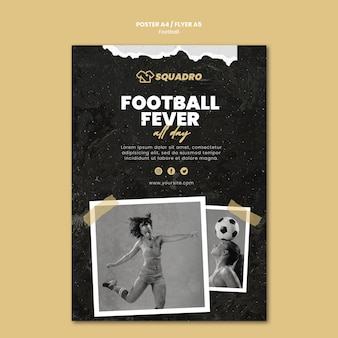 Vertical poster template for female football player