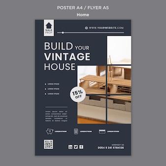 Modello di poster verticale per trovare la casa perfetta