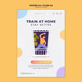 Vertical poster template for fitness training at home