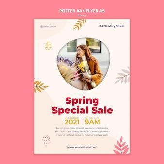 Modello di poster verticale per negozio di fiori con fiori primaverili