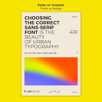 Vertical poster template for fonts and design