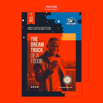 Vertical poster template for food truck business